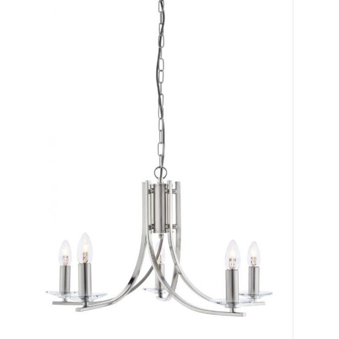 Searchlight 4165-5SS Ascona 5 Light Ceiling Light Satin Silver
