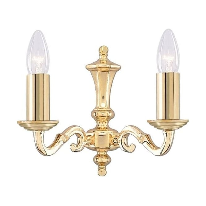 Searchlight 2172-2NG Seville 2 Light Wall Light Polished Brass