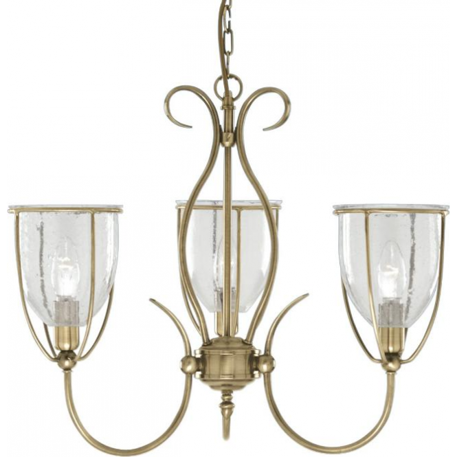 Searchlight 6353-3AB Silhouette 3 Light Ceiling Light Antique Brass