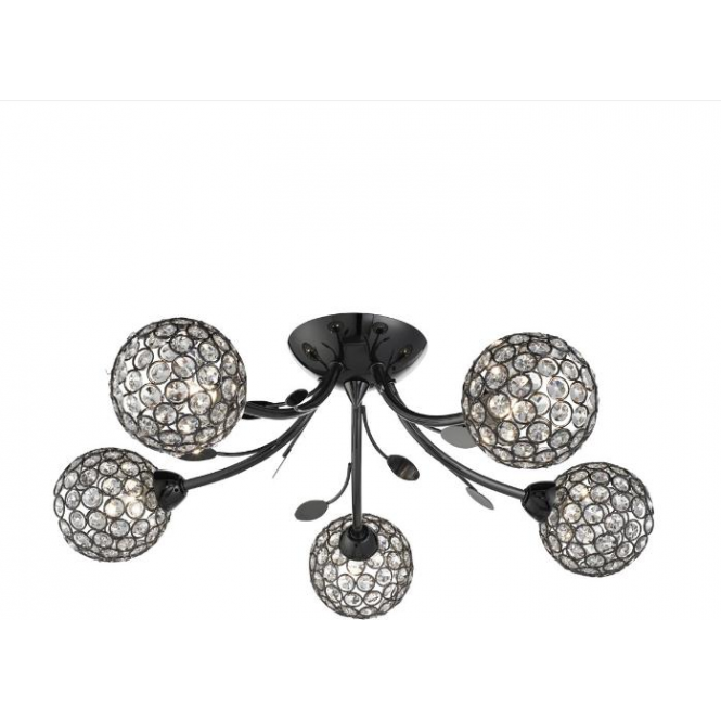 Searchlight 6575-5BC Bellis II 5 Light Semi Flush Ceiling Light Black Chrome