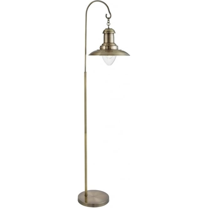 Searchlight 6502AB 1 Light Fisherman Floor Lamp Antique Brass