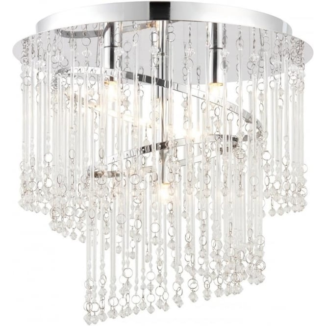 Endon 68698 Camille 4 Light Glass Semi-flush Ceiling Light Chrome