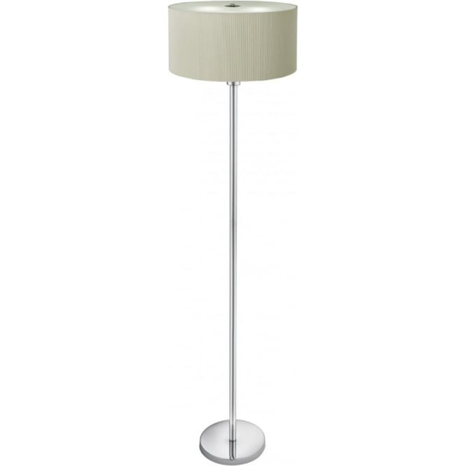 Searchlight 5663-3CR Drum Pleat 3 Light Floor Lamp Cream