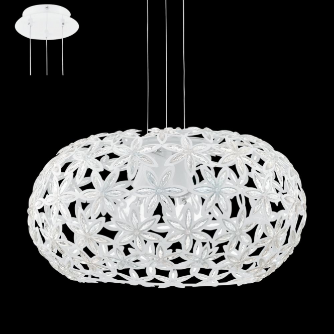Eglo 92887 Silvestro1 2 Light Ceiling Pendant White