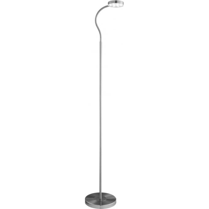 Searchlight 1061SS 1 Light LED Adjustable Floor Lamp Satin Silver