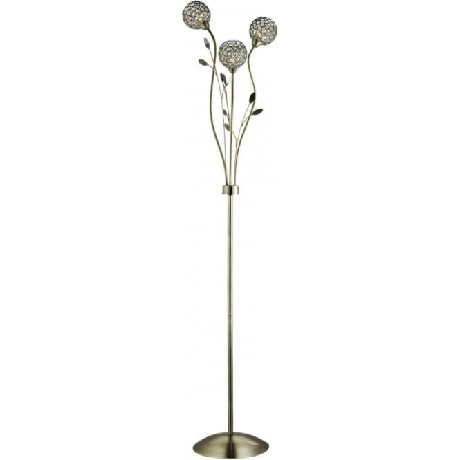 Searchlight 3573AB Bellis II 3 Light Floor Lamp Antique Brass