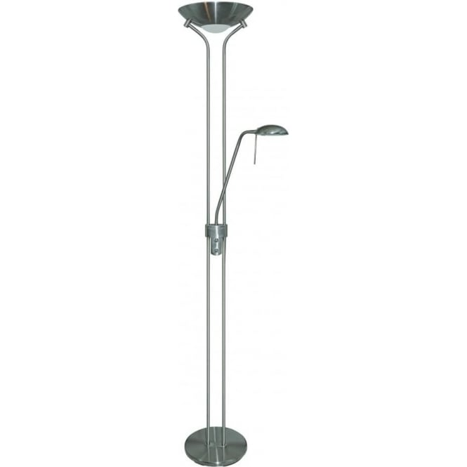 Searchlight 4329SS 2 Light Mother And Child Floor Lamp Satin Silver