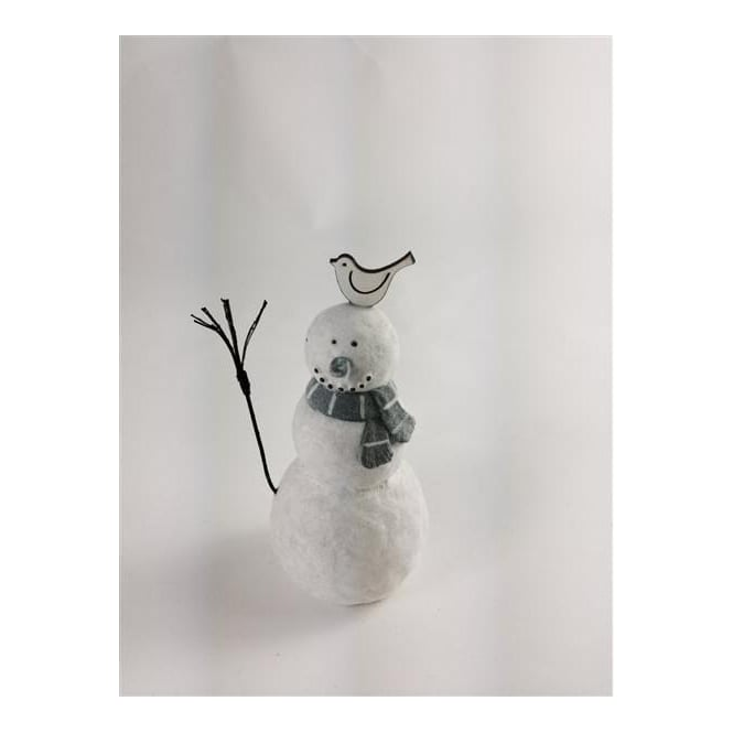 Shoeless Joe 5412 Christmas Snowman With A Bird On His Head