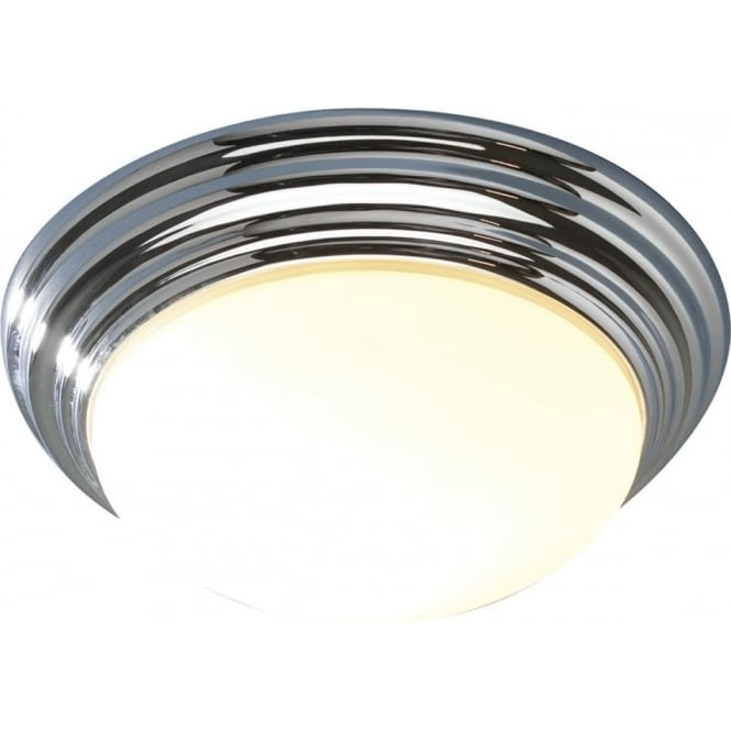 Dar BAR5050 Barclay 1 light bathroom ceiling light flush polished chrome (large) IP44 rated