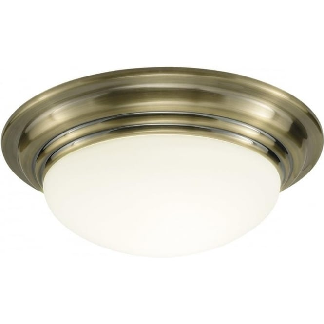 Dar BAR5275 Barclay 1 Light Bathroom Ceiling Light IP44 Antique Brass