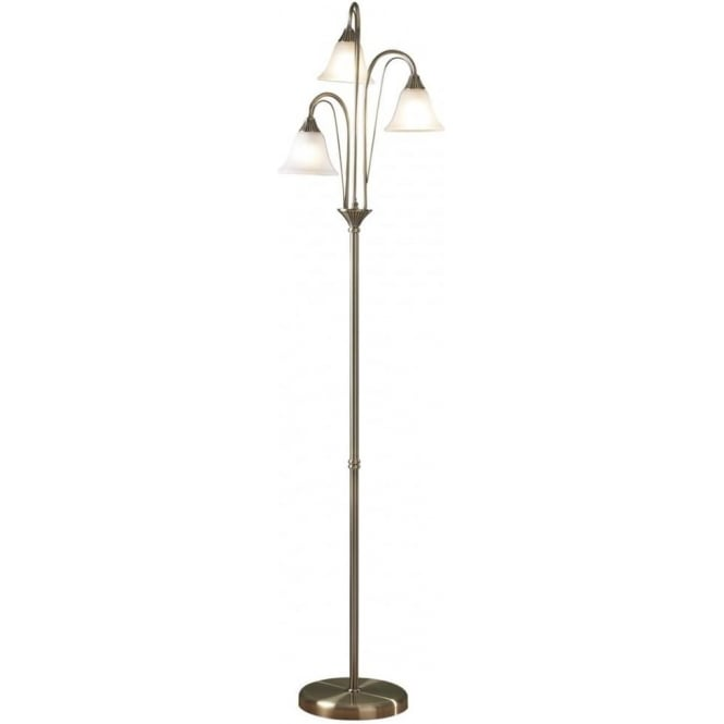 Dar BOS49 Boston 3 Light Traditional Floor Lamp Antique Brass Finish With Acid Etched Glass Shade
