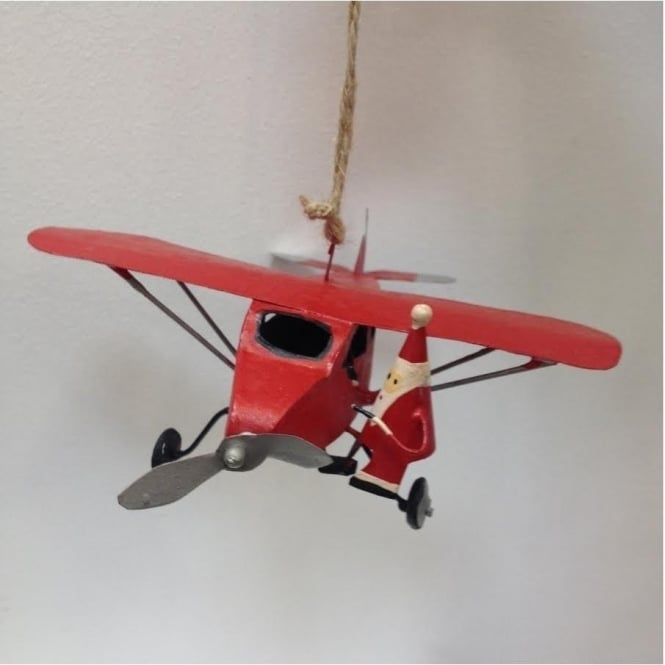 Shoeless Joe 5171 Santa Climbing a Red Monoplane