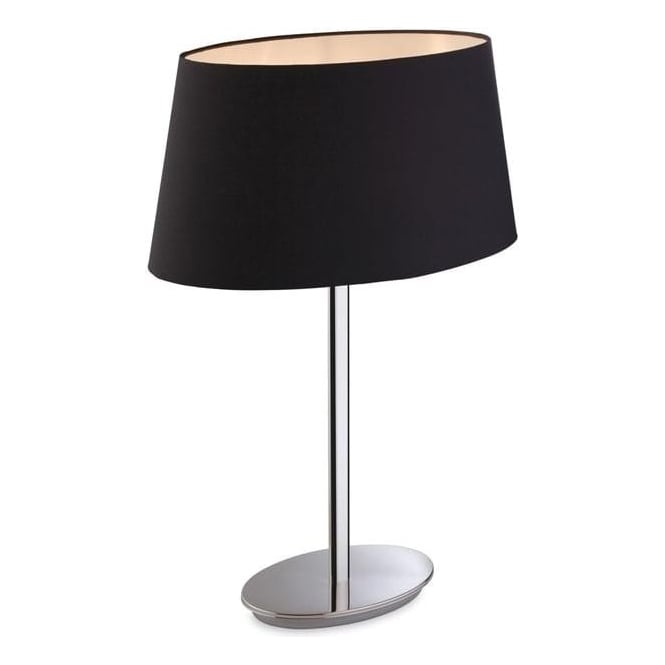 FirstLight 8328BK Princess 1 Light Table Lamp Polished Chrome with Black Shade
