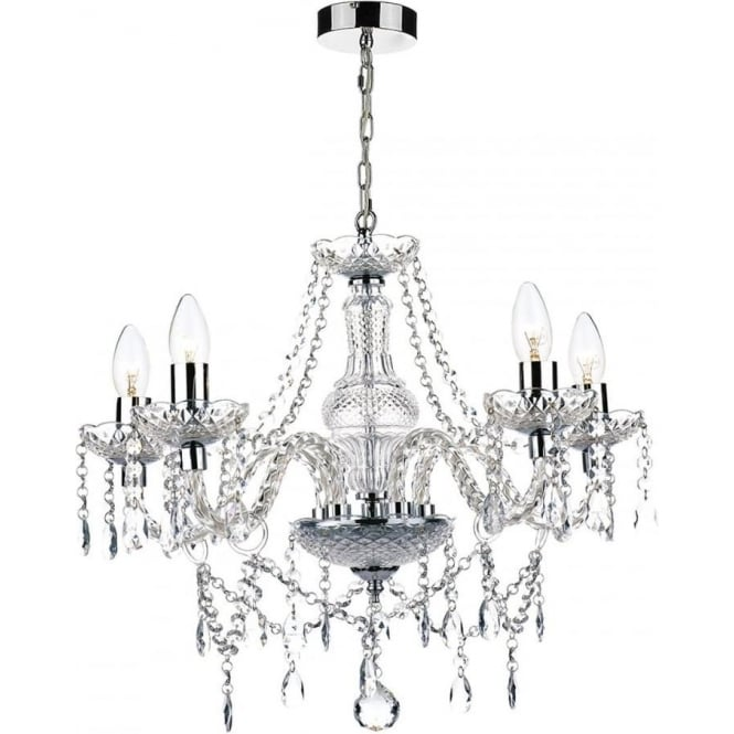 Dar KAT0550 Katie 5 light traditional chandelier acrylic crystal finish