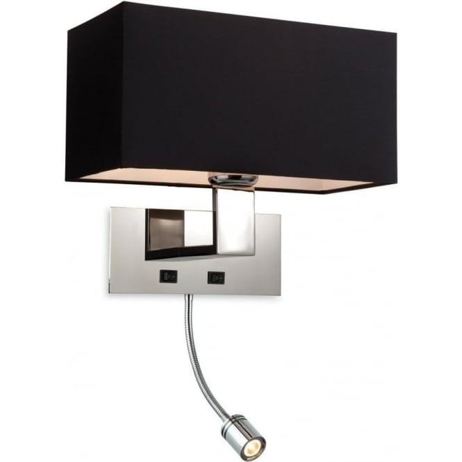 FirstLight 8608BK Prince 2 Light Switched Wall Light Polished Stainless Steel