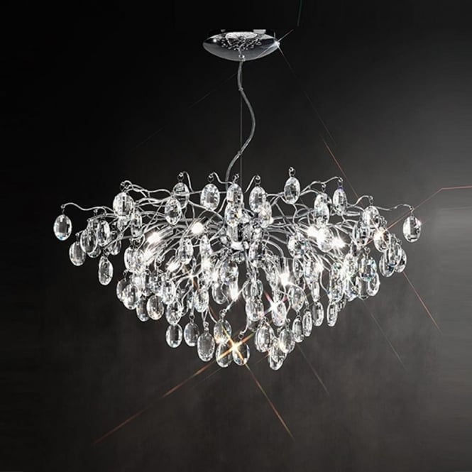 Franklite FL2326/13 Wisteria 13 Light Ceiling Light Chrome