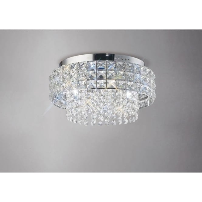 Diyas IL31150 Edison Round 4 Light Crystal Flush Ceiling Light Polished Chrome