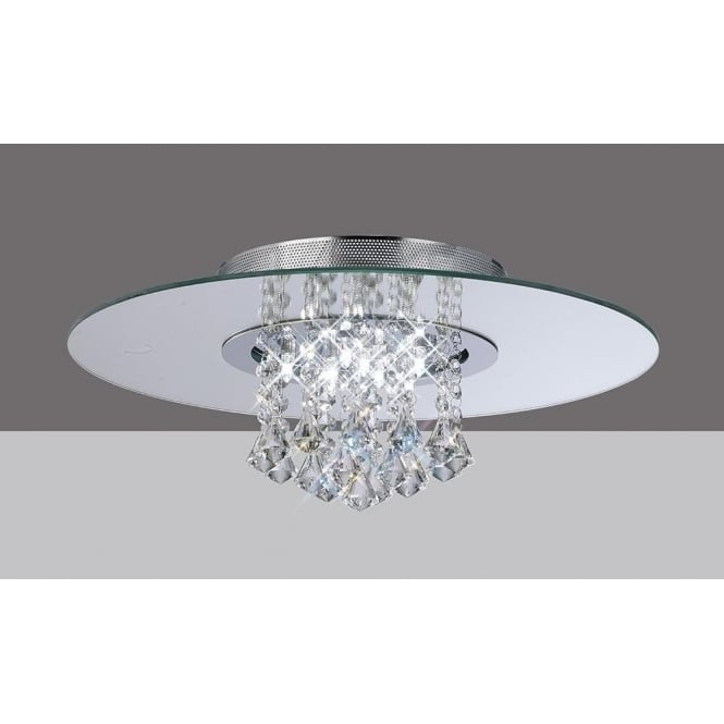 Diyas IL31007 Starda Round 8 Light Crystal Semi-flush Ceiling Light Polished Chrome