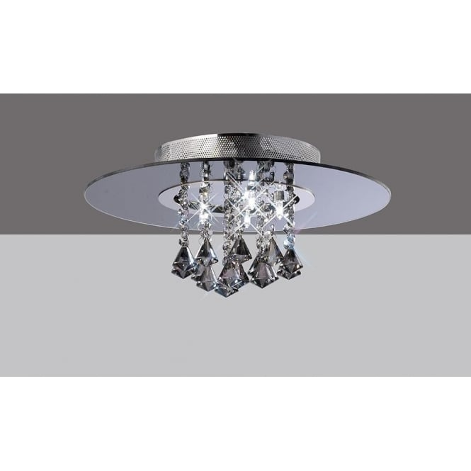 Diyas IL31001 Starda Round 5 Light Crystal Semi-flush Ceiling Light Polished Chrome/Smoked Mirror