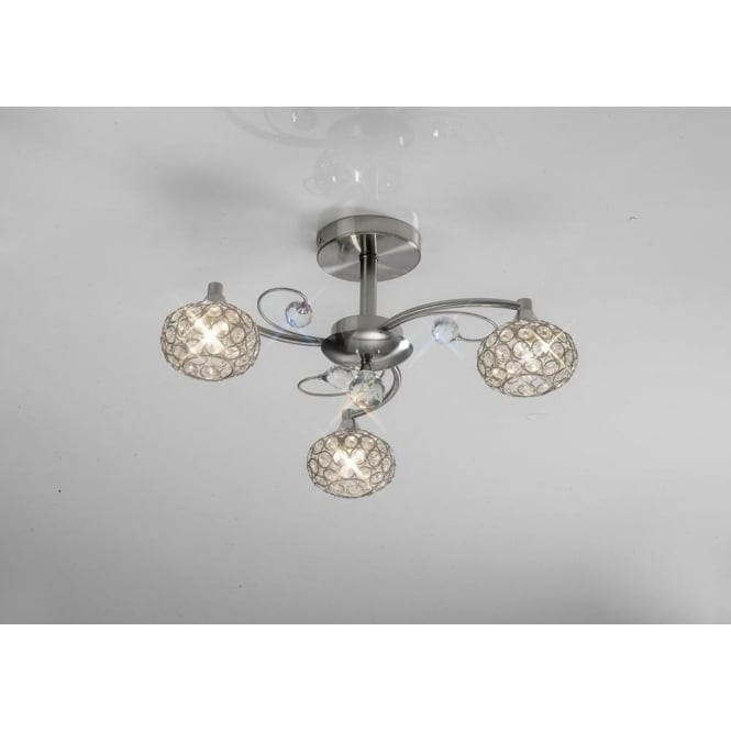 Diyas IL30933 Cara 3 Light Crystal Semi-flush Ceiling Light Satin Nickel