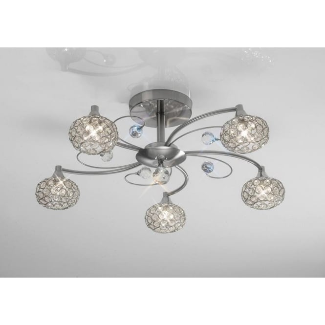 Diyas IL30935 Cara 5 Light Crystal Semi-flush Ceiling Light Satin Nickel