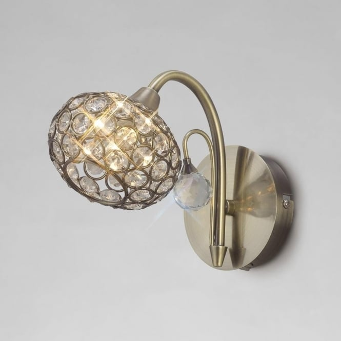 Diyas Cara Crystal Wall Light In Antique Brass