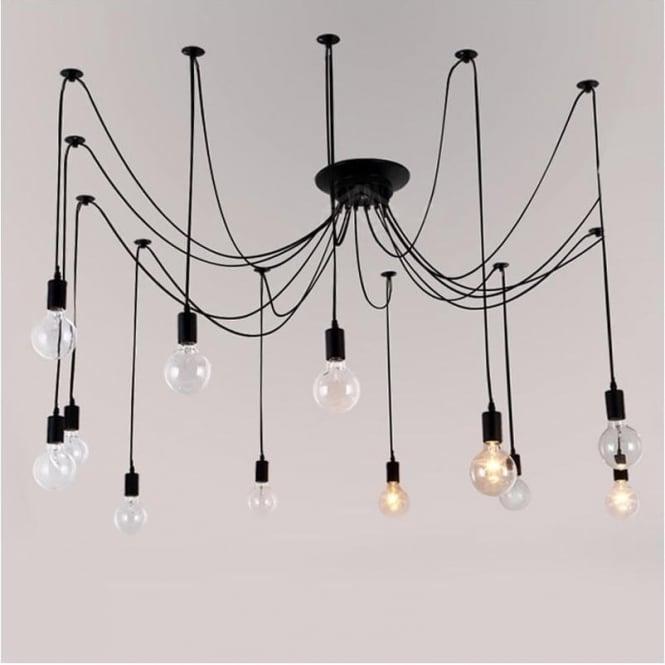 Smartwares Industrial Es Pendant Light Black Bronze: Alfie Lighting AL-12SP Black Spider Cable Pendant Ceiling