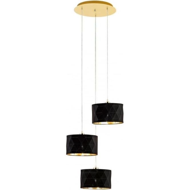 Eglo 39226 Dolorita Pendulum 3 Light Gold Black