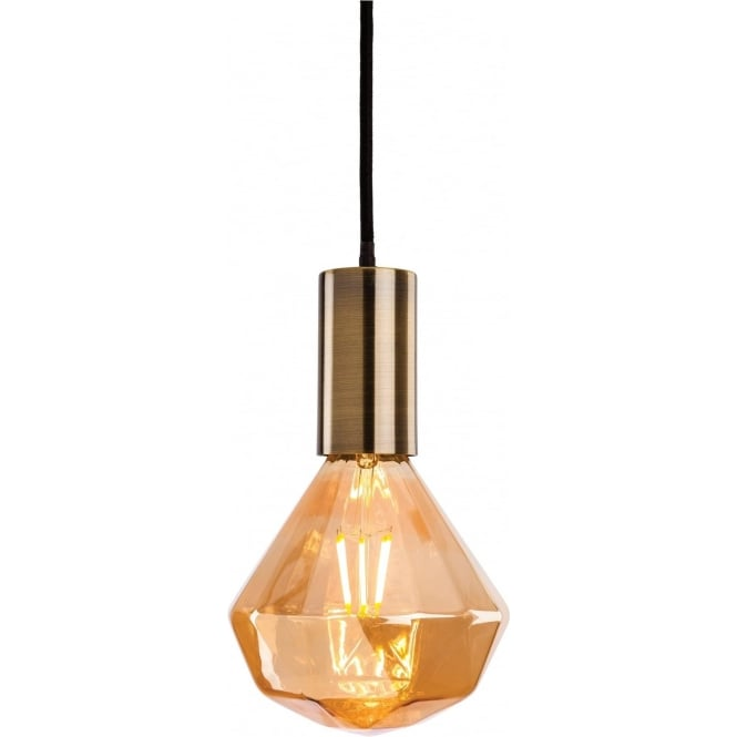 FirstLight 4934 Hudson Pendant Antique Brass with Decorative LED Lamp