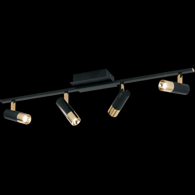 Eglo tomares ceiling spotlight in black and polished brass eglo 39147 tomares 4 light steel brass ceiling spotlight aloadofball Images