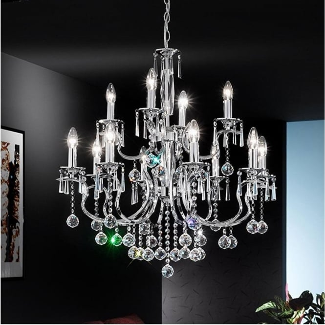 Franklite FL2155/8 Taffeta 8 Light Crystal Ceiling Light Chrome