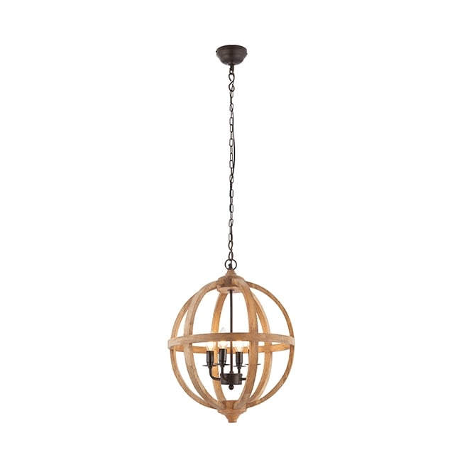 Endon 73575 Toba 1 Light Ceiling Pendant Mango Wood