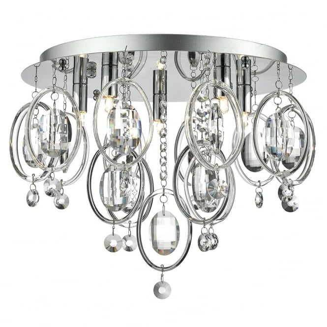 Dar EVA5450 Evangeline 5 Light Semi-Flush Ceiling Light Polished Chrome