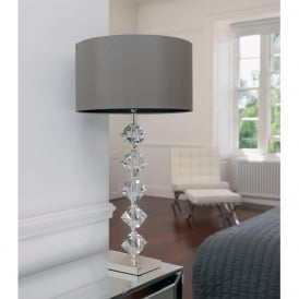 Verdone Envisage Modern Crystal Table Lamp with Silk Shade