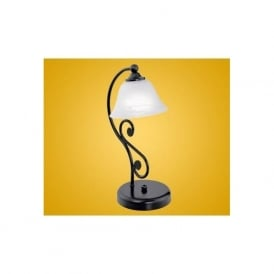 91007 Murcia 1 light traditional table lamp black finish with a alabaster white glass shade