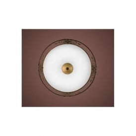 86712 Mestre 2 light Traditional Ceiling light Flush antique brown and gold finish (medium)