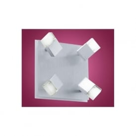 90864 Gemini LED wall/ceiling spotlight aluminium brushed/shiny white finish