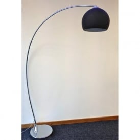 LRFLOORBLACK 1 Light Modern Floor Lamp Black And Polished Chrome