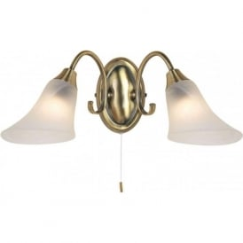 144-2AN Hardwick 2 Light Switched Wall Light Antique Brass