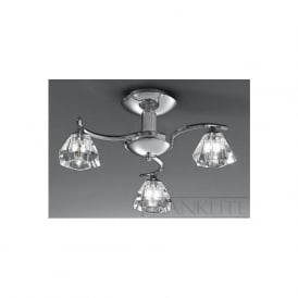 FL2162/3 Twista 3 Light Crystal Ceiling Light Polished Chrome