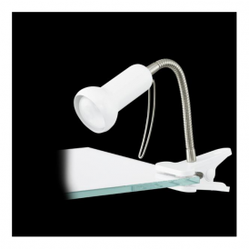 81262 Fabio 1 Light Clip Lamp Steel Plastic White Silver