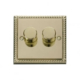 Georgian Cast Brass GCBR152 2 Gang 2 Way 400W Double Dimmer Switch
