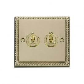 Georgian Cast Brass GCBR422 2 Gang 2 Way 10ax Double Toggle Switch
