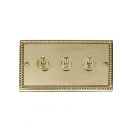 Georgian Cast Brass GCBR423 3 Gang 2 Way 10ax Triple Toggle Switch