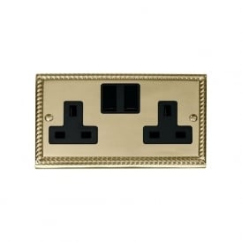 Georgian Cast Brass GCBR036 2 Gang 13A DP Switched Double Socket