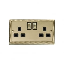 Georgian Cast Brass GCBR536 2 Gang 13A DP Ingot Switched Double Socket