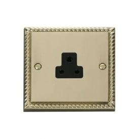 Georgian Cast Brass GCBR039 2A Round Pin Socket Outlet