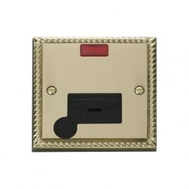 Georgian Cast Brass GCBR053 13A Fused Connection Unit with Flex Outlet & Neon