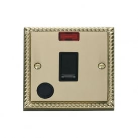 Georgian Cast Brass GCBR023 20A DP Switch with Flex Outlet & Neon