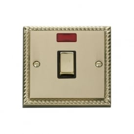 Georgian Cast Brass GCBR723 20A Ingot DP Switch with Neon